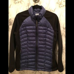 32 degrees blue puffer jacket with black sleeves